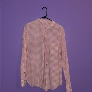 J.Crew Pink and White Gingham Button Down Shirt